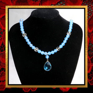 Blue Chalcedony & Quartz Gemstone Necklace #322